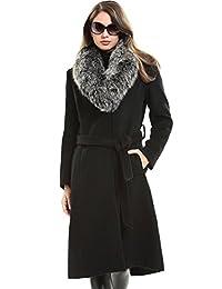 Escalier Women's Trench Long Wool Coat with Fox Fur Collar