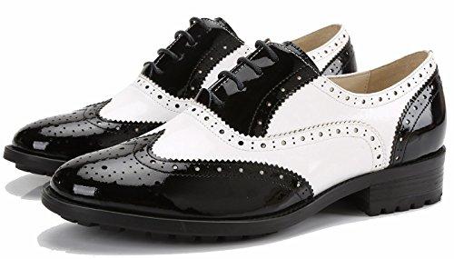 Simplec Dames Kant Geperforeerd Vleugeltip Multicolor Leer Vlakke Oxfords Vintage Comfortabele Kantoor Schoenen Wit-zwart
