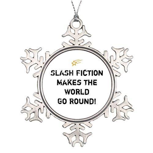 OneMtoss Christmas Snowflake Ornament Personalised Christmas Tree Decoration Fans Slash Fiction Saying Santa Christmas Snowflake Ornaments ()