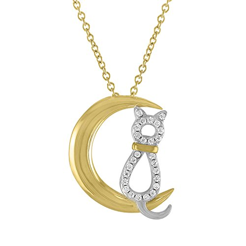 Yellow Gold Cat Charm (Cat on Moon Necklace Cat no Allergy-