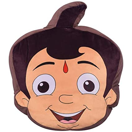 Chhota Bheem Polyester Cushion - Bheem Face Pillow - Chhota Bheem Soft Cushion - Cartoon Character - Ideal for Kids Above 2 Years.