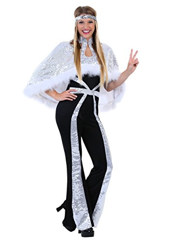 Plus Size Women's Dazzling Silver Disco Costume -