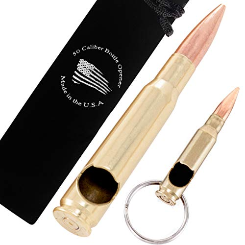 50 Caliber BMG Real Bullet Bottle Opener and .308 Keychain Real Bullet Bottle Opener - Set of 2 - Made in the USA