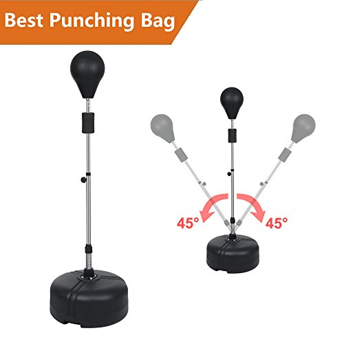 Reflex Bag Free Standing Punching Bag with Stand Heavy Speed Ball Boxing Release Fitness Trainer Adjustable Height 56.2-60.8