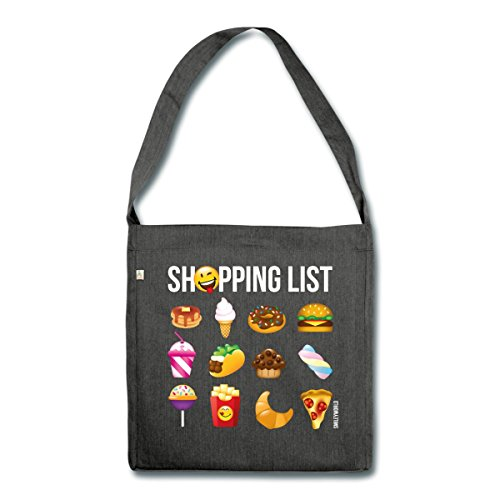 Spreadshirt Smiley World Shopping List Fast Food Schultertasche aus Recycling-Material Schwarz Meliert 5IQorUP4mp