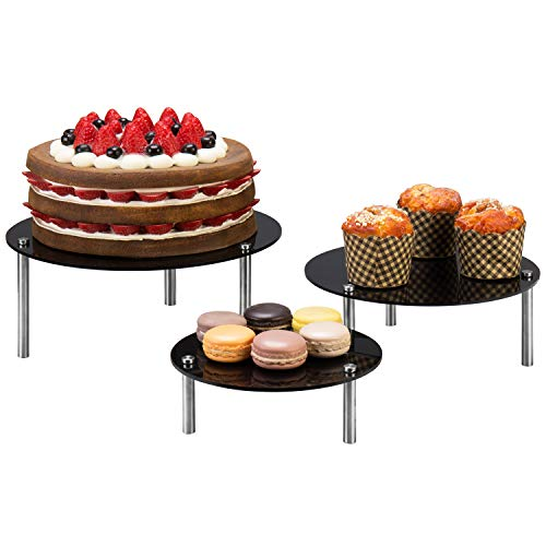 MyGift Round Black Acrylic Dessert & Bakery Retail Display Risers, Set of 3
