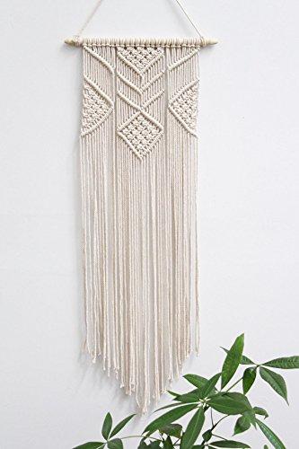 Macrame Wall Tapestry Boho Decor Hanging Handmade Bohemian Inspired Home Dorm Room Bedroom Decoration - 100% Cotton Cord, 3 Foot Length