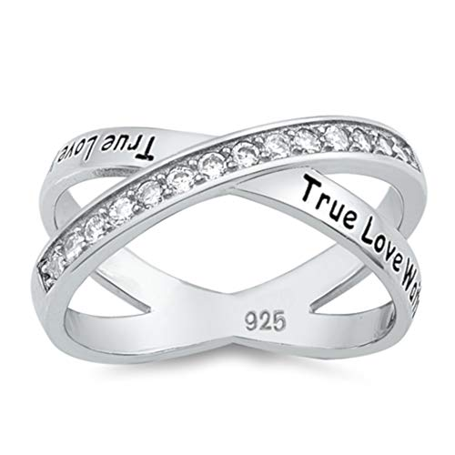 North Arrow Shop True Love WAITS Ring Sterling Silver, Christian Promise Jewelry with Gift Box -