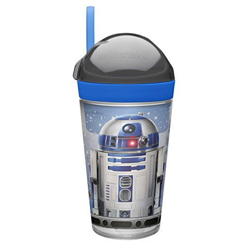 Zak! Designs Zak! Snak Snack & Drink Container Featuring Star Wars Graphics, 4 oz. Snack and 10 oz. Drink in One Easy To Open Container, BPA-free and Break-resistant Plastic