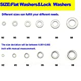 Yosawa 480-Pcs Professional Stainless Steel Flat Washers and Spring Lock Washers Assortment Kit for M2 3 4 5 6 8 Screws Bolt