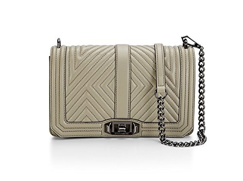 Rebecca minkoff Geo Quilted Love crossbody in taupe