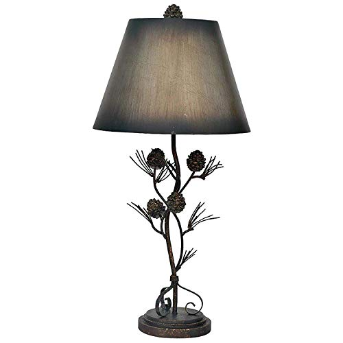 Rustic Iron Twig Table Lamp Branch Pine Cones Lodge Decor 32