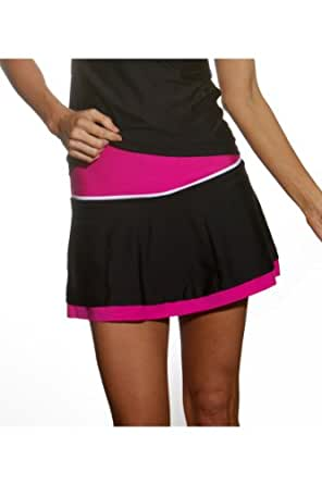 Show No Love Women's Team Tennis Clay Court Skirt (black&fuchsia size L)