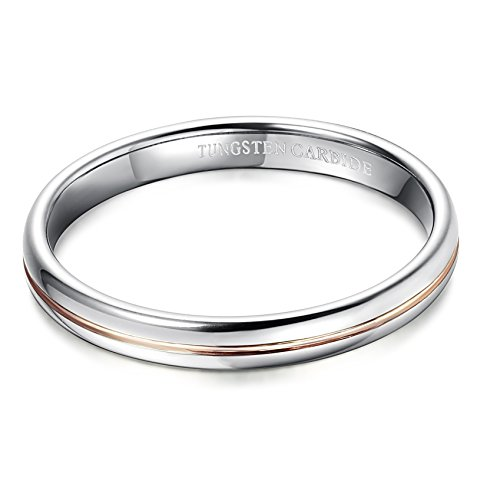 Tungary 3mm Womens Tungsten Carbide Rings Wedding Engagement Band Promise Domed Size 4-11.5