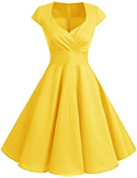 Women Short 1950s Retro Vintage Cocktail Party Swing Dresses
