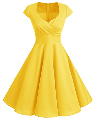 Colored Vintage Multi Cap Yellow Dress Cocktail Sleeve Women's 1950s Rockabilly Bbonlinedress zw1H41