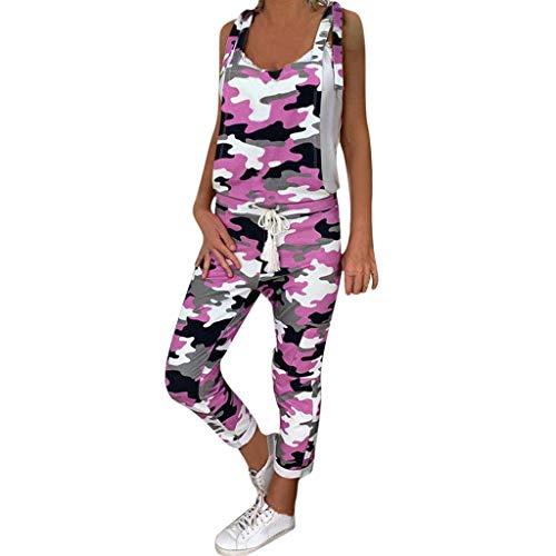 Vowes Women Jumpsuit Sleeveless Shoulder Leopard Print Romper Pants Sexy V-Neck Wide Leg Long Jumpers Jumpsuit