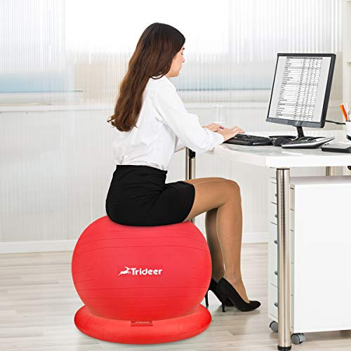Trideer Ball Chair – Exercise Stability Yoga Ball with Base for Home and Office Desk, Ball Seat, Flexible Seating with Ring & Pump, Improves Balance, Back Pain, Core Strength & Posture by Trideer (Image #6)