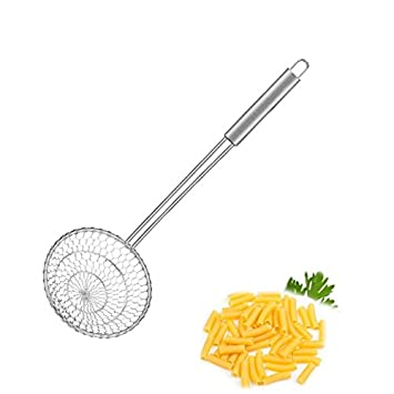 Stainless Steel Asian Spider Strainer Professional Kitchen Wire Skimmer with Spiral Mesh Basket Tools Dia 5inch
