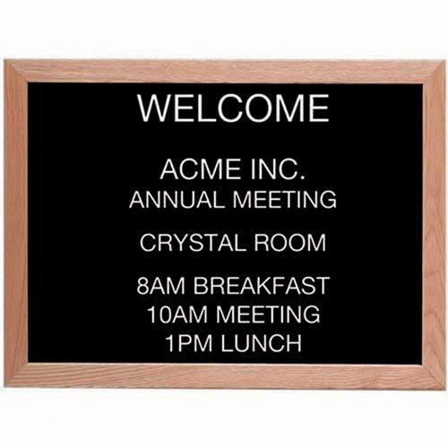 "Framed Wall Mounted Letter Board Frame Color: Oak, Size: 18"" H x 24"" W"