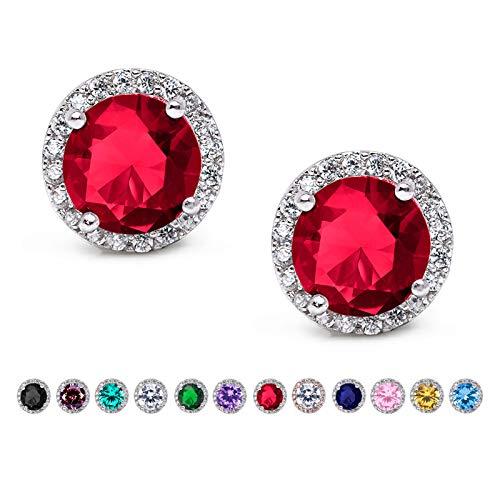 SWEETV Cubic Zirconia Stud Earrings, 10mm Round Cut, Rhinestone Hypoallergenic Earrings for Women & Girls, Ruby -