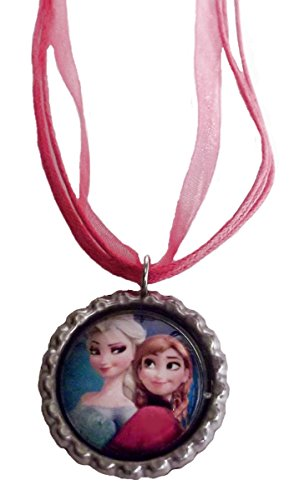 [Disney's Frozen Movie ELSA & ANNA Bottlecap NECKLACE w/ 18