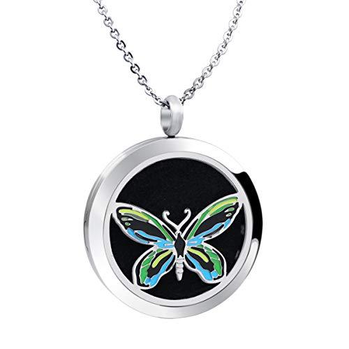 VOJO Stainless Steel Enamel Animal Charm Aromatherapy Locket Pendant Necklace for Women 22