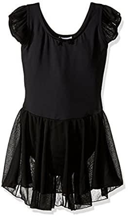 Capezio Little Girls' Flutter-Sleeve Dress Leotard,Black,T (2-4)