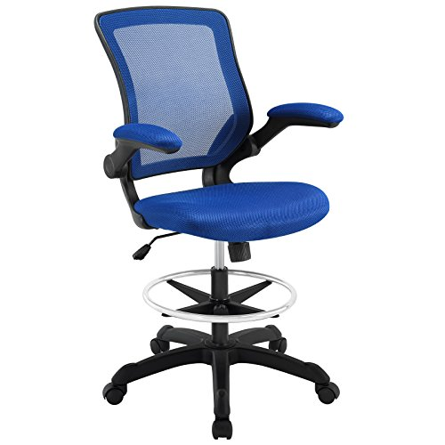Modway Veer Drafting Chair In Blue - Reception Desk Chair - Tall Office Chair For Adjustable Standing Desks - Flip-Up Arm Drafting Table Chair...