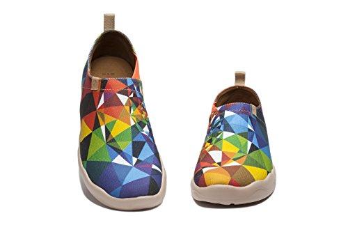 Uin Mens Miroir Magique Imprimé Toile Glisser Sur La Chaussure Multicolore