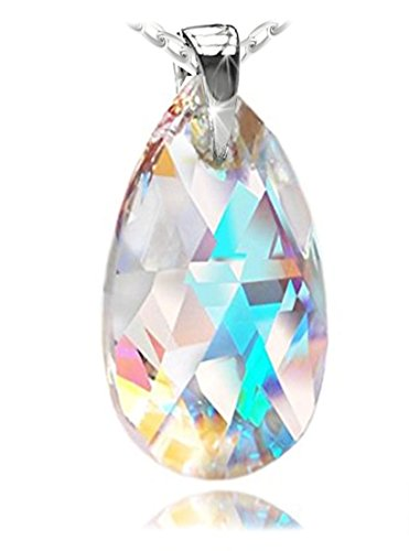 Adorned 925 Sterling Silver Pendant - Royal Crystals Sterling Silver Blue Aurora Borealis Adorned with Swarovski Crystals Women Jewelry Pendant Necklace, 18