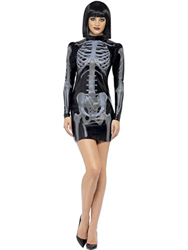 Smiffy's Women's Fever Miss Whiplash Skeleton Costume, Printed Dress, Halloween, Fever, Size 10-12, 43837