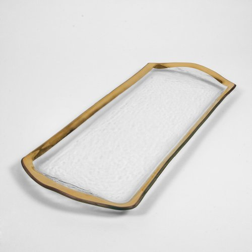 Image of Annieglass Glass Pastry Tray Roman Antique With Gold Trim Serving Trays