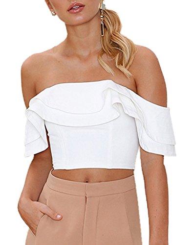 T Blouses Fashion Volant Col Sexy Femme Monika Court Top Crop Shirts t Bateau Haut Blanc Courtes Manches Couleur Chemisiers Unie 4qRwnp5apF