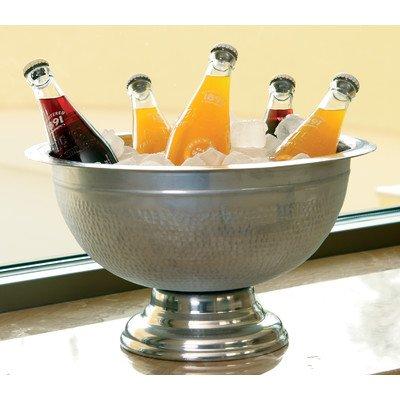 (KINDWER Hammered Aluminum Pedestal Punch Bowl, 15-Inch, Silver)