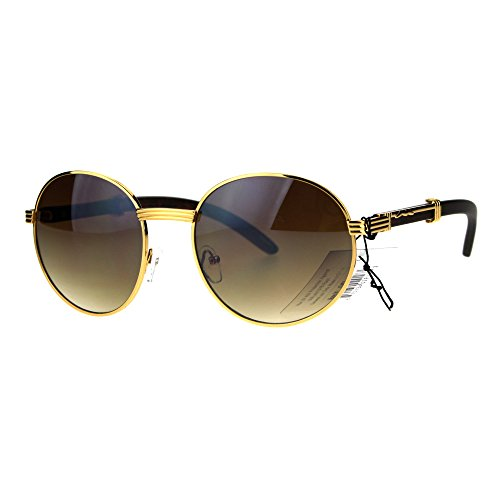 SA106 Retro Art Nouveau Vintage Style Small Metal Frame Sunglasses Round Yellow Gold (Cartier Oval Glasses)