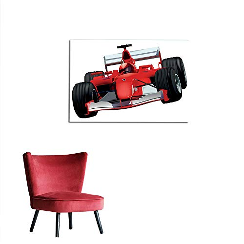 Wall Picture Decoration Cars,Formula Race Car with The Driver Automobile Motorized Sports Theme Strong Engine,Red Black White Art Poster W19.7 x L15.7