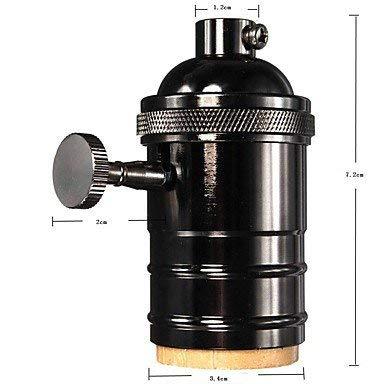 E27 Lamp Holder,Vintage Brass Metal Industrial Light Socket Set with On/Off Edison Retro Die-Casting Plating High-Speed Knob Lamp Holder Standards Base Black