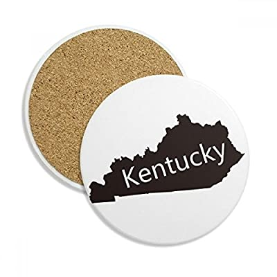 Kentucky America USA Map Silhouette Stone Drink Ceramics Coasters for Mug Cup Gift 2pcs