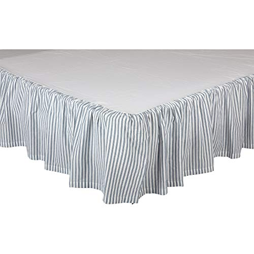 (VHC Brands Farmhouse Sawyer Mill Ticking Cotton Split Corners Gathered Striped King Bed Skirt Blue Denim)