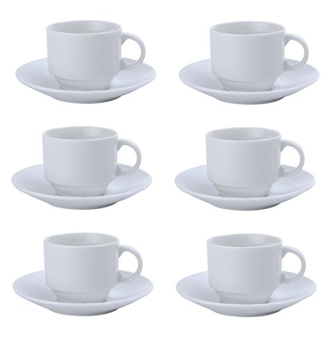 Espresso/Coffee/Tea Set 12- Piece Fine Porcelain 3.5 Oz by Chefcaptain