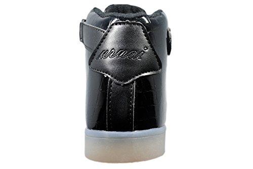 uruoi New Design 11 Colors High-Top LED Light Up Shoes Sneakers For Women Men Little Kid Black