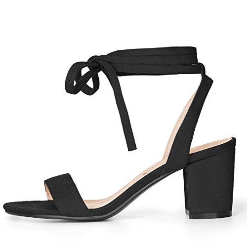 Allegra K Women's Mid Block Heel Ankle Tie Sandals Black V5VqOPO