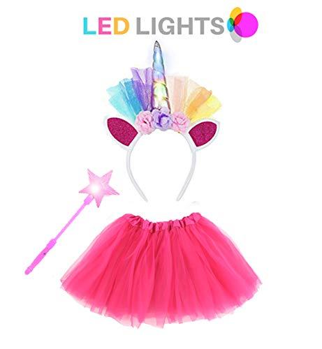 Unicorn Outfit Costume Set (3pcs) Tutu Skirt,LED Flashing