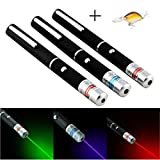 3 pcs Laser Pointer High Power 650nm green 532nm blue-violet 405nm Laser Pointer Pen Adjustable Burning Match Without Battery + 01 Minnow Fishing Lures