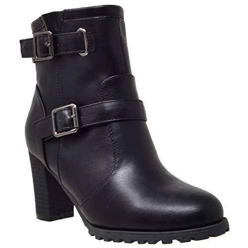 Women's Ankle Boot Black Buckle Strap Block Heel Booties Black SZ 8