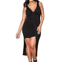 Hyiri Sexy Women S Casual Maxi Dresssleeveless Solid V Neck Lace Up Irregular Dress Black
