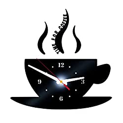 HXWJ 12 DIY Coffee Shape Wall Clocks- Easy to Read & Install Decorative for Kitchen, Living Room, Bathroom, Bedroom, Office (Black)