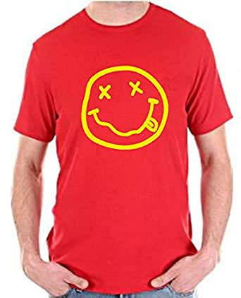 Red T-Shirt Printed Short Sleeves For Men Size - M