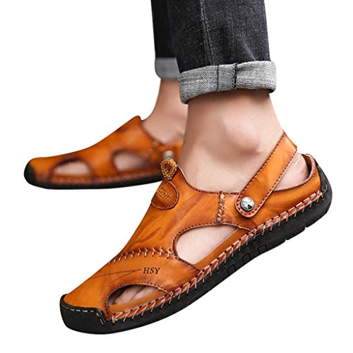 e3da12942cbb2 Leather Sandals for Men 2019 New Casual Lightweight Hiking Beach Water  Shoes (US:10.5, Red)